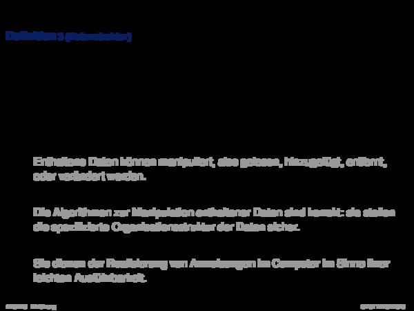 Begriffserklärung Definition 3 (Datenstruktur)