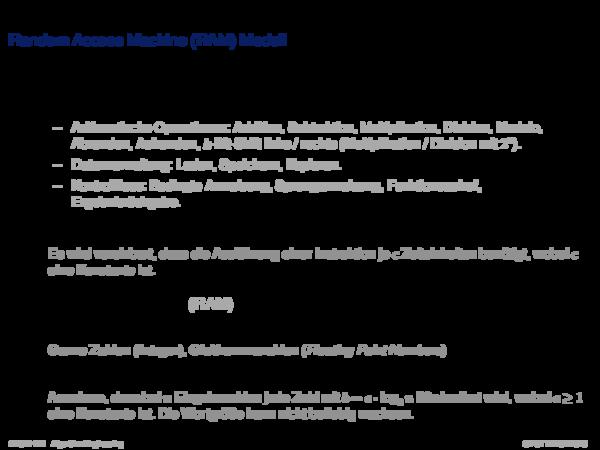Maschinenmodell Random Access Machine (RAM) Modell