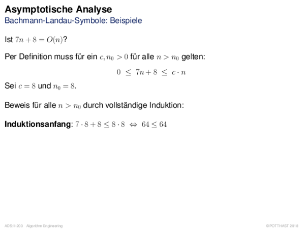 Asymptotische Analyse Bachmann-Landau-Symbole: Beispiele