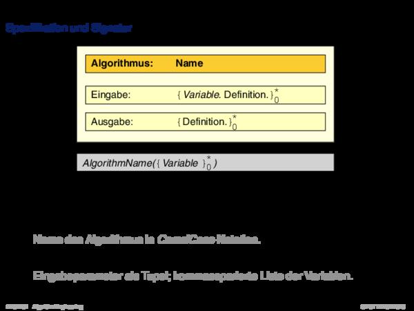 Pseudocode Spezifikation und Signatur