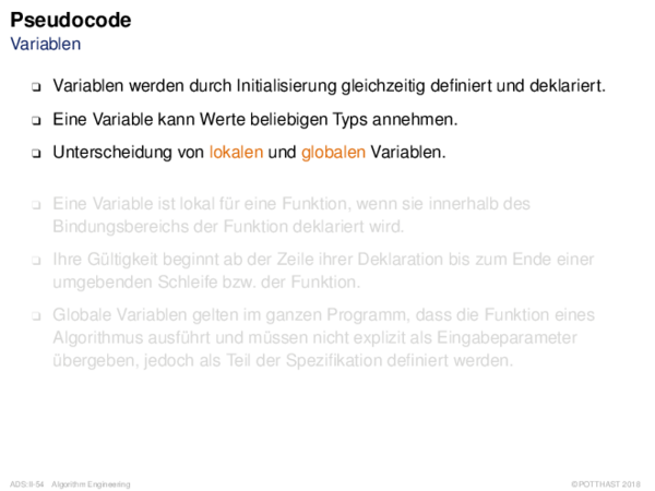Pseudocode Variablen