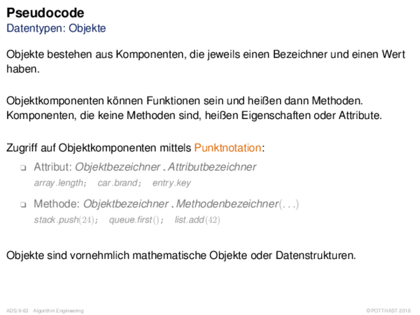 Pseudocode Datentypen: Objekte