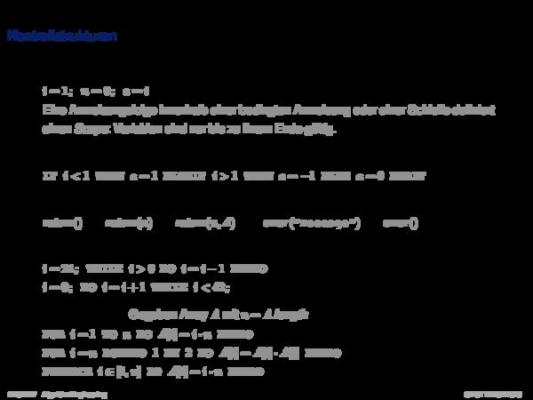 Pseudocode Kontrollstrukturen