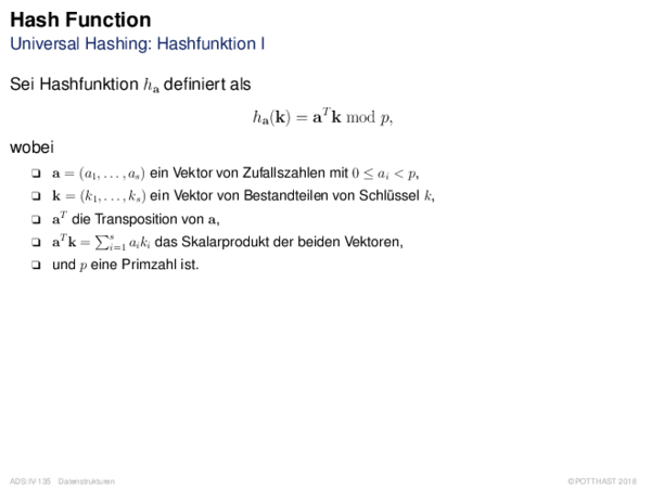 Hash Function Universal Hashing: Hashfunktion I