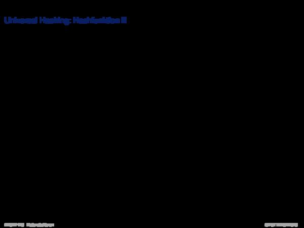 Hash Function Universal Hashing: Hashfunktion II