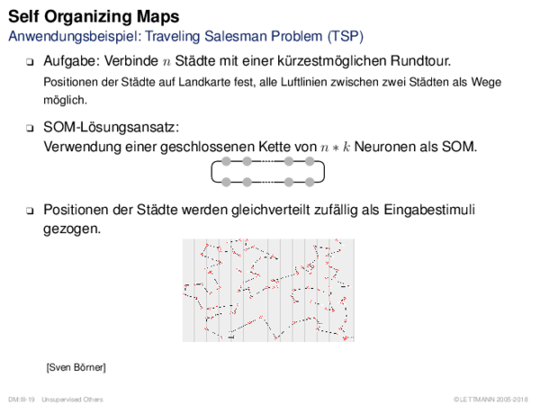 Self Organizing Maps Anwendungsbeispiel: Traveling Salesman Problem (TSP)