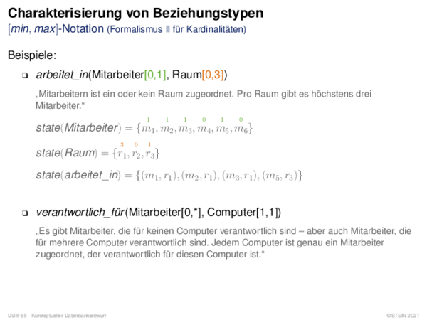 Charakterisierung von Beziehungstypen Formalismus I versus Formalismus II
