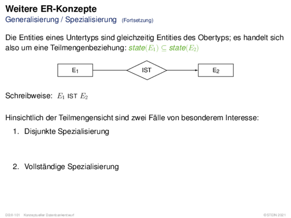 Abstraktionskonzepte Generalisierung / Spezialisierung