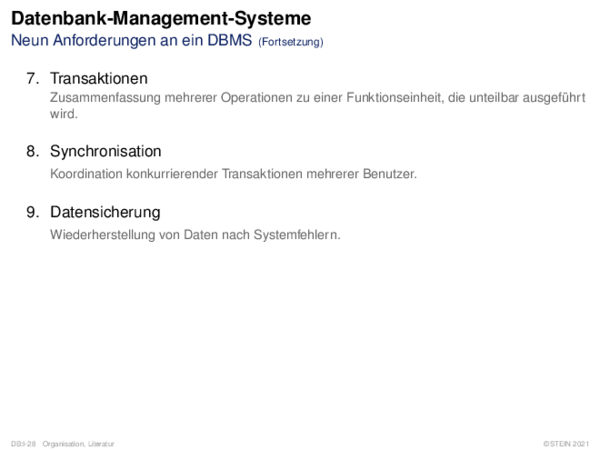 Datenbank-Management-Systeme Drei-Schichten-Schema-Architektur