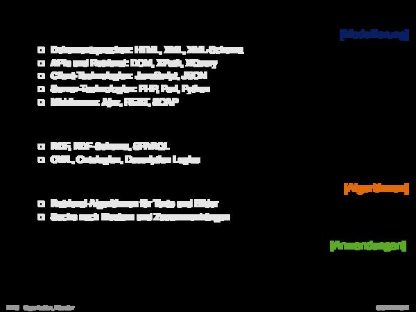 Angrenzende Gebiete 1. Syntaktische Web-Technologien