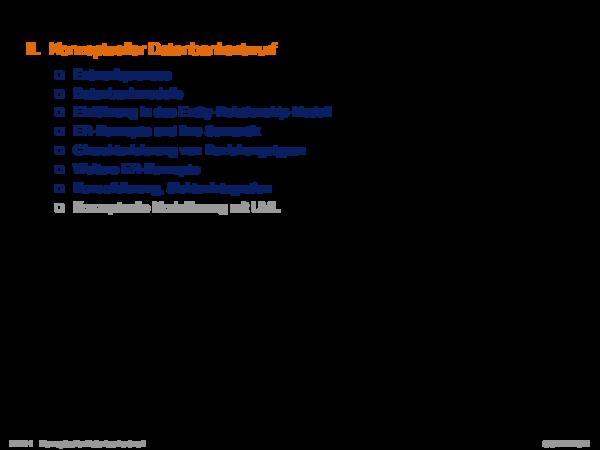 Kapitel DB:II II. Datenbankentwurf und Datenbankmodelle