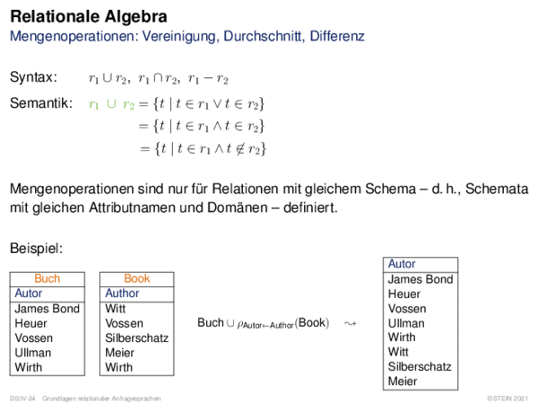 Relationale Algebra Mengenoperationen: Vereinigung, Durchschnitt, Differenz