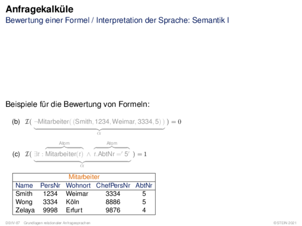 Anfragekalküle Bewertung einer Formel \u002f Interpretation der Sprache: Semantik I