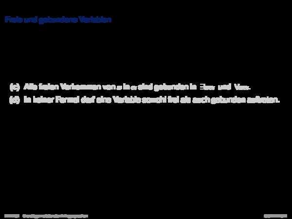 Anfragekalküle Freie und gebundene Variablen