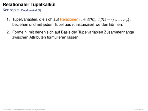 Relationaler Tupelkalkül Konzepte