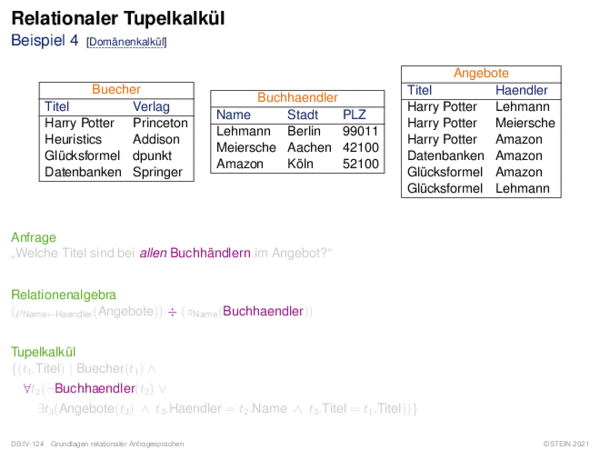Relationaler Tupelkalkül Beispiel 4