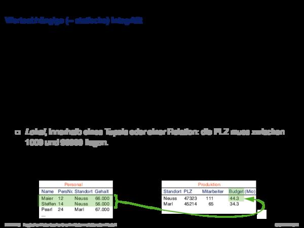 Integritätsbedingungen Operationale (= dynamische) Integrität