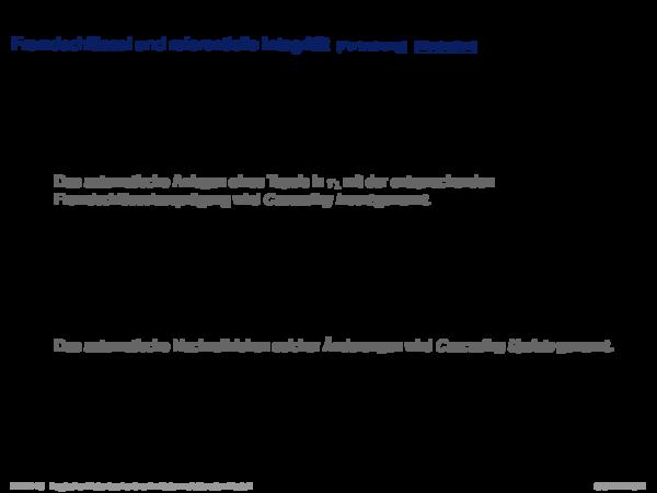 Integritätsbedingungen Fremdschlüssel und referentielle Integrität