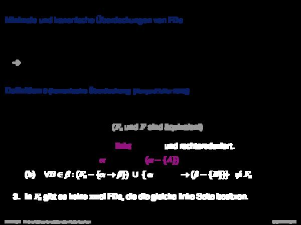 Funktionale Abhängigkeiten Minimale und kanonische Überdeckungen von FDs
