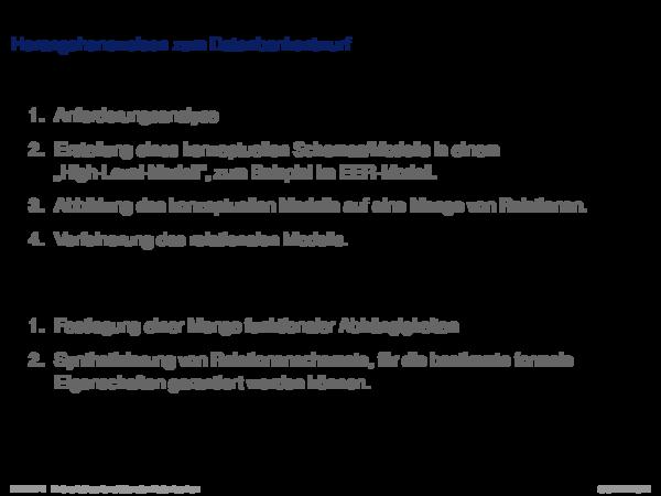 Dekompositionseigenschaften von Relationen Herangehensweisen zum Datenbankentwurf