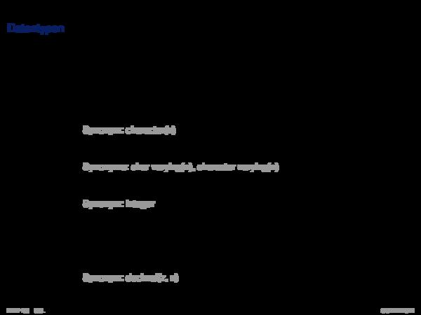 SQL als Datendefinitionssprache Datentypen