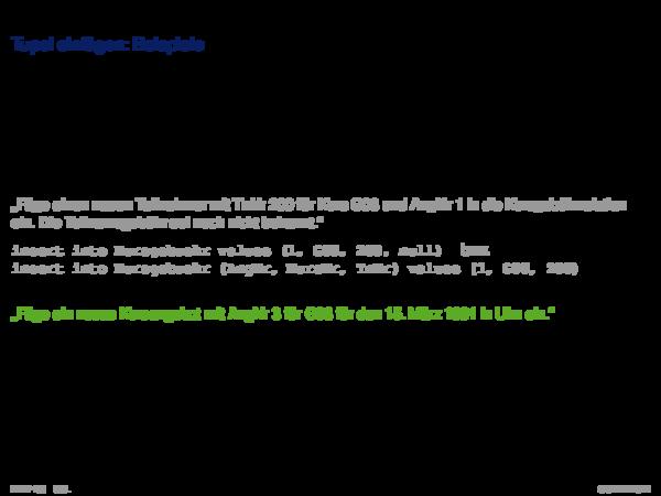 SQL als Datenmanipulationsssprache Tupel einfügen: Beispiele