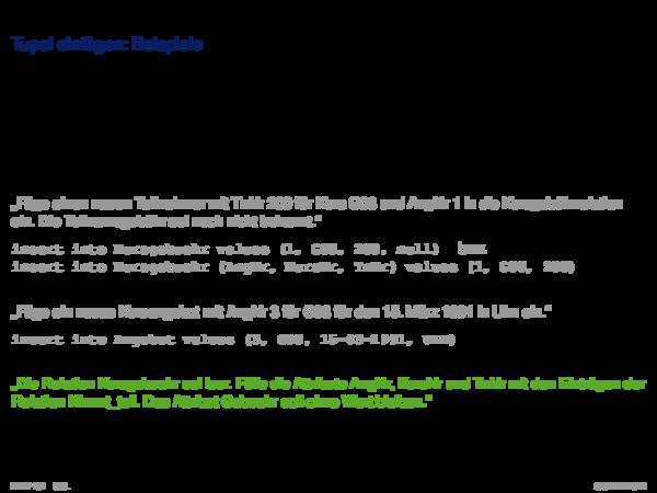 SQL als Datenmanipulationsssprache Löschen von Tupeln: Beispiele