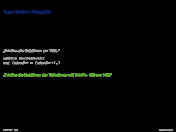 SQL als Datenmanipulationsssprache Tupel ändern: Beispiele