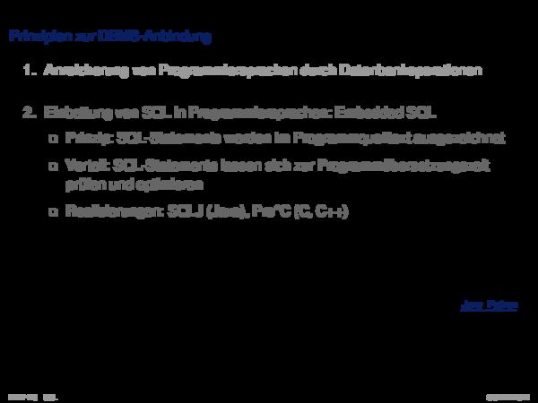 SQL vom Programm aus Prinzipien zur DBMS-Anbindung
