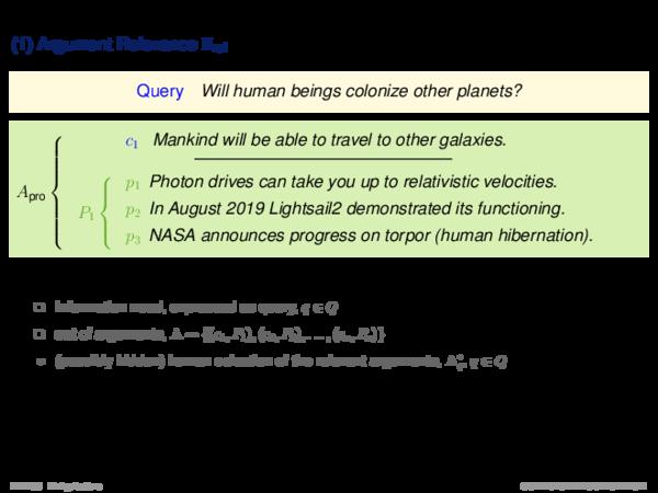 Argument Retrieval Problems (1) Argument Relevance Πrel