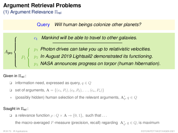 Argument Retrieval Problems (2) Argument Ranking Πrank