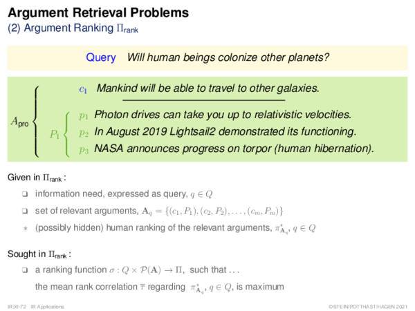 Argument Retrieval Problems (3) – (7) Further Problems