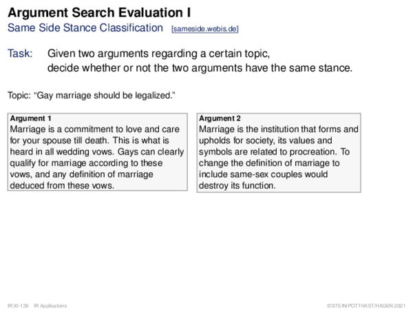 Argument Search Evaluation Same Side Stance Classification