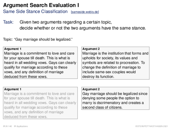 Argument Search Evaluation Same Side Stance Classification: Task Rationale