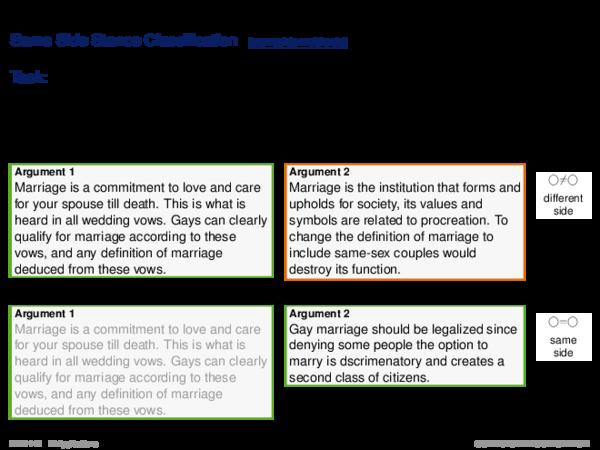 Argument Search Evaluation Same Side Stance Classification: Tasks Details
