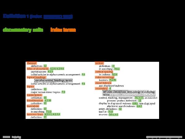 Indexing Basics Definition 1 (Index
