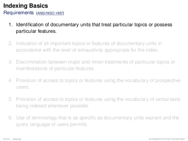 Indexing Basics Requirements