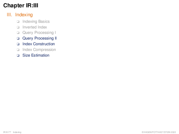 Query Processing II Single-Term Queries