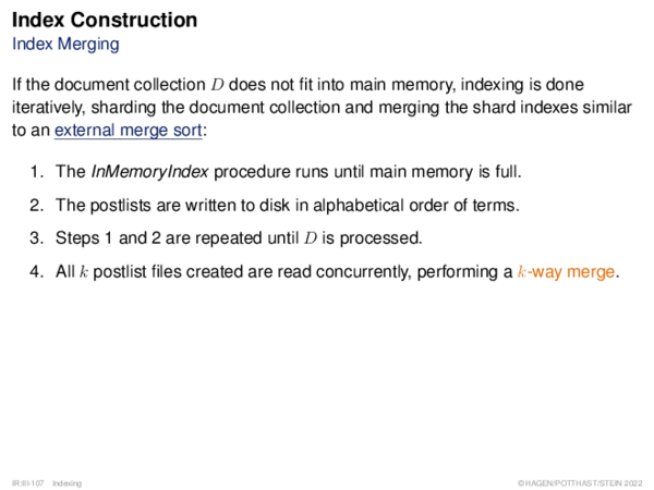 Index Construction Distributed Indexing