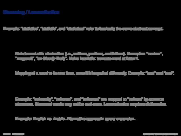 Indexing Process Text Transformation: Stemmer / Lemmatizer