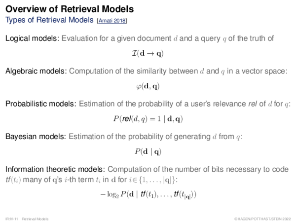 Overview of Retrieval Models Document Modeling