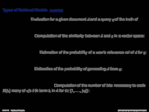 Overview of Retrieval Models Document Modeling