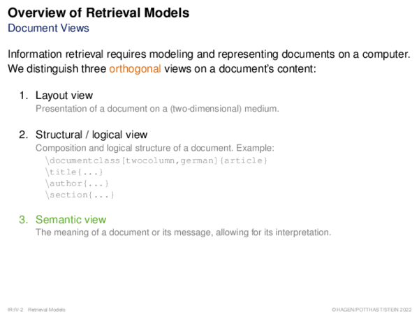Overview of Retrieval Models Document Views