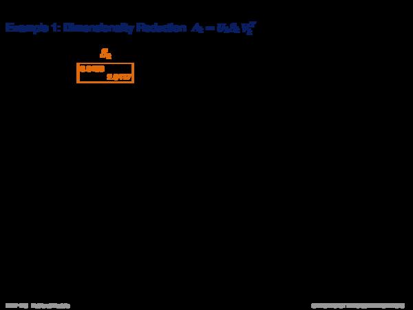 Latent Semantic Indexing Example: Dimensionality Reduction Ak = Uk Sk VkT