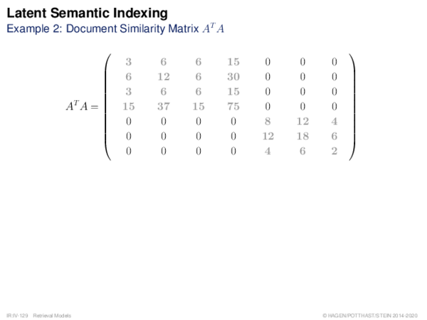 Latent Semantic Indexing Example 2: Document Similarity Matrix AT A