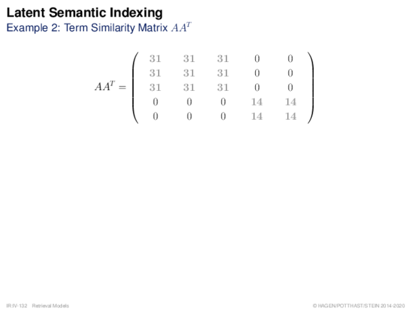 Latent Semantic Indexing Example 2: Term Similarity Matrix AAT
