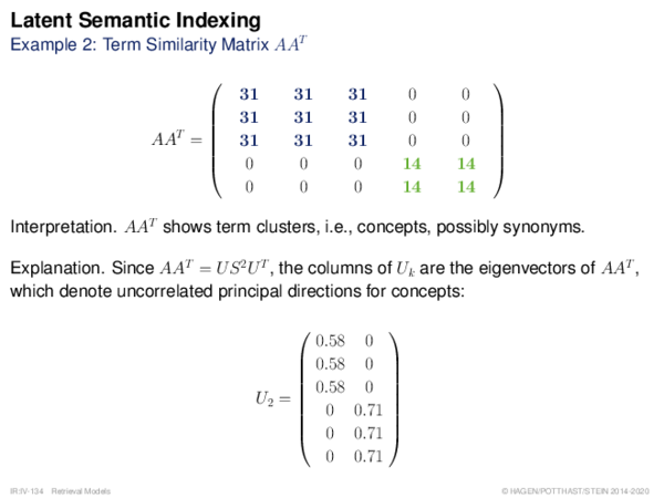 Latent Semantic Indexing Example 2: Term Similarity Matrix AAT