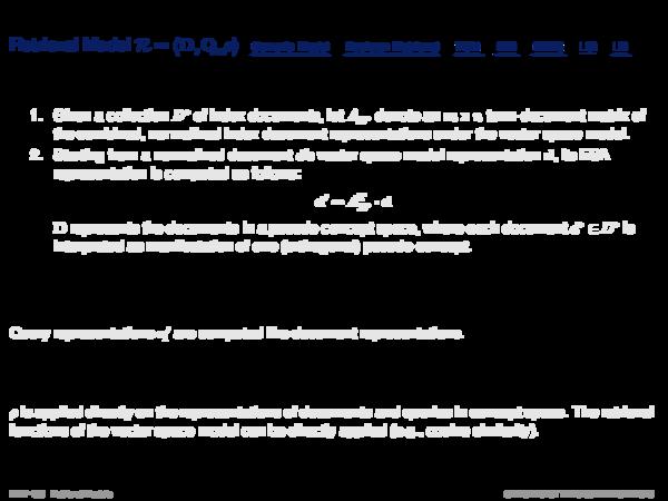 Explicit Semantic Analysis Relevance Function ρ