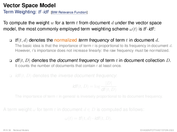 Vector Space Model Term Weighting: tf ·idf