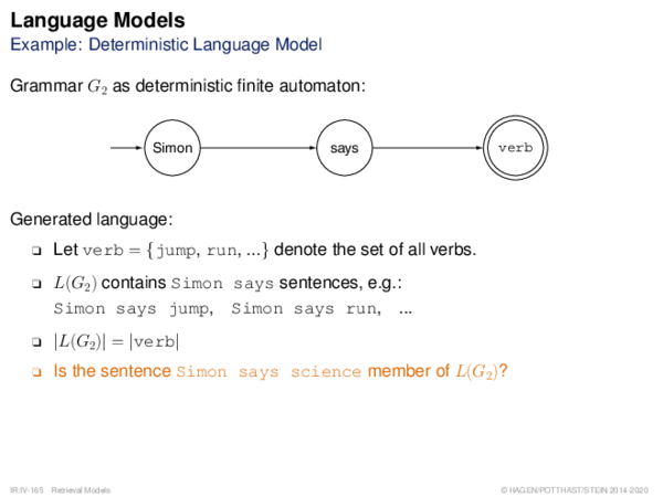 Language Models Example: Deterministic Language Model